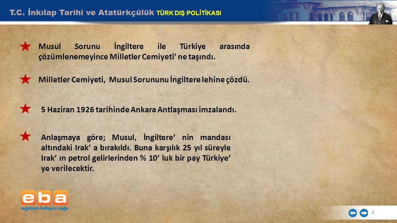 T.C. İnkılap Tarihi ve Atatürkçülük TÜRK DIŞ POLİTİKASI 9 Musul Sorunu İngiltere ile Türkiye arasında çözümlenemeyince Milletler Cemiyeti' ne taşındı.