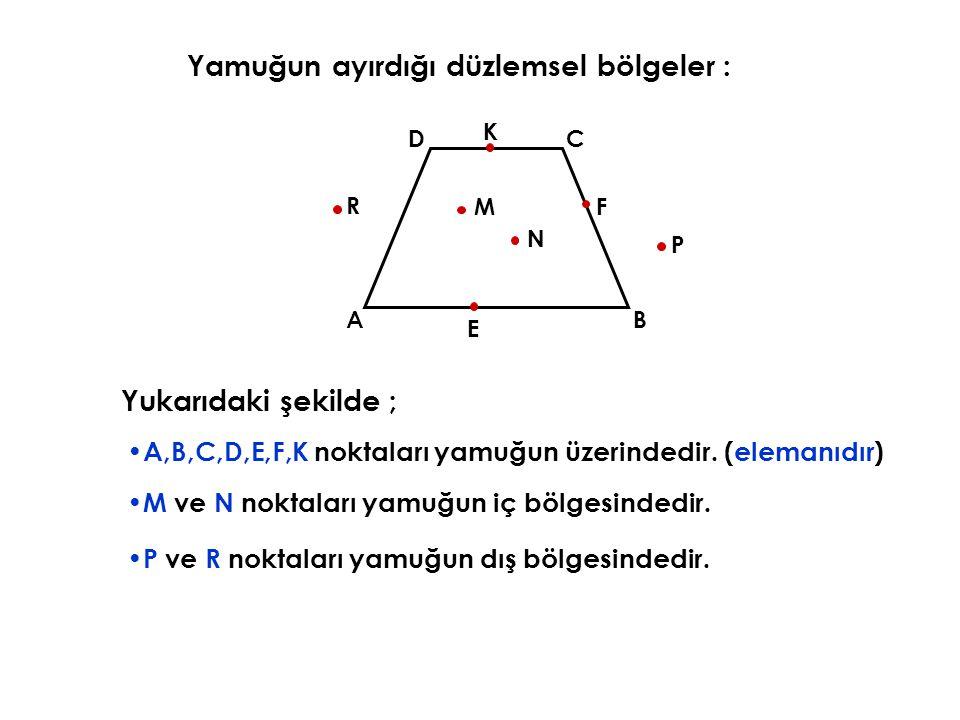 Yukarıdaki şekilde ; A,B,C,D,E,F,K noktaları yamuğun üzerindedir.