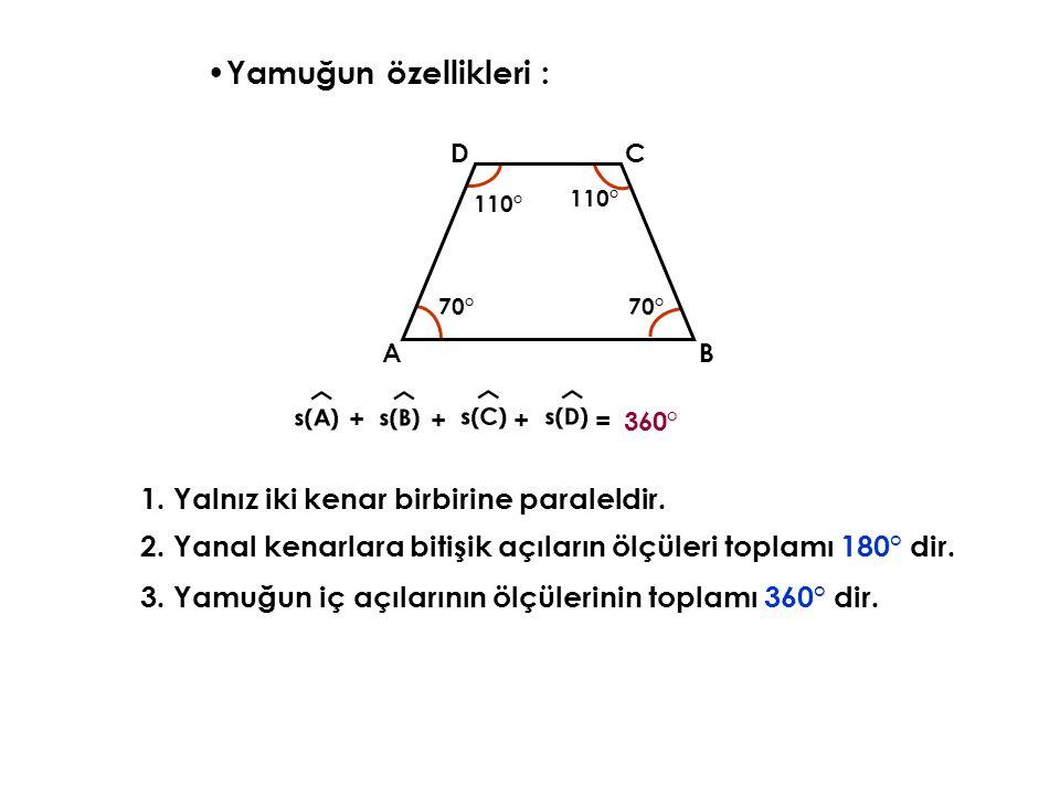 Yamuğun özellikleri : 3.Yamuğun iç açılarının ölçülerinin toplamı 360° dir.