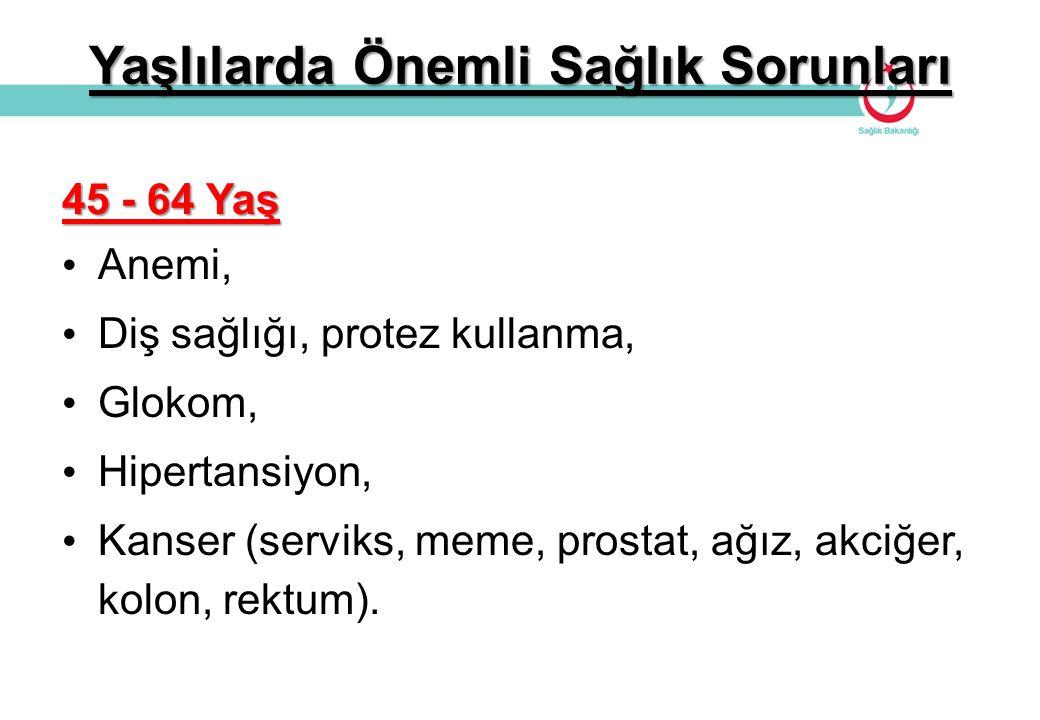 Yaşlılarda Önemli Sağlık Sorunları 45 - 64 Yaş Anemi, Diş sağlığı, protez kullanma, Glokom, Hipertansiyon, Kanser (serviks, meme, prostat, ağız, akciğ