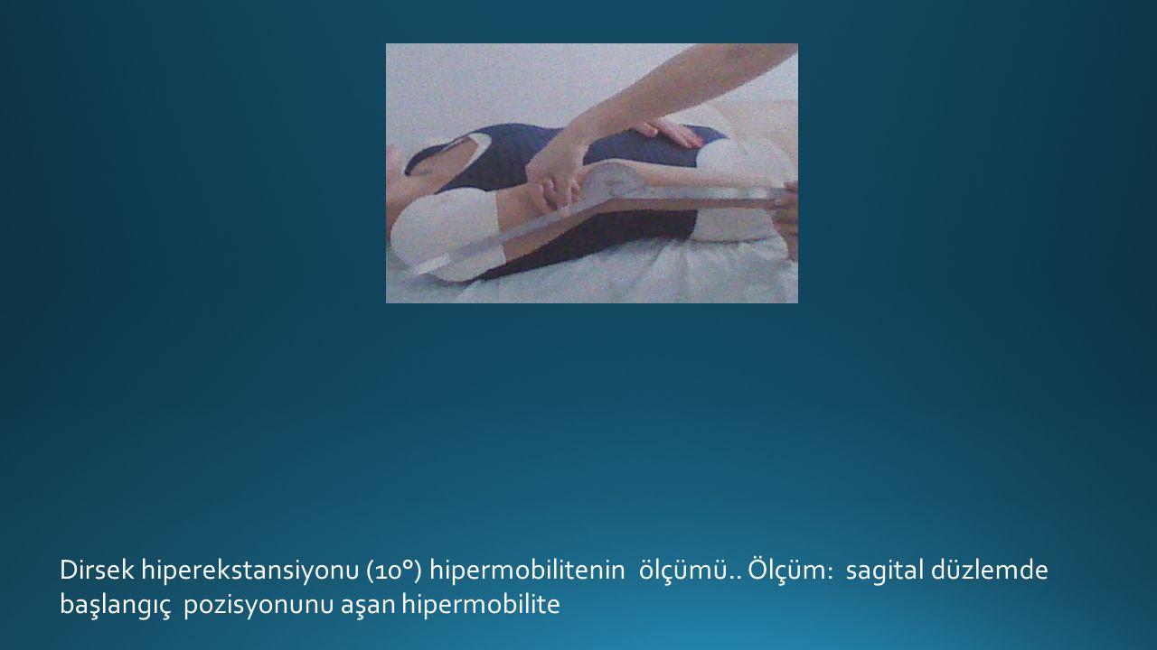 Dirsek hiperekstansiyonu (10°) hipermobilitenin ölçümü..