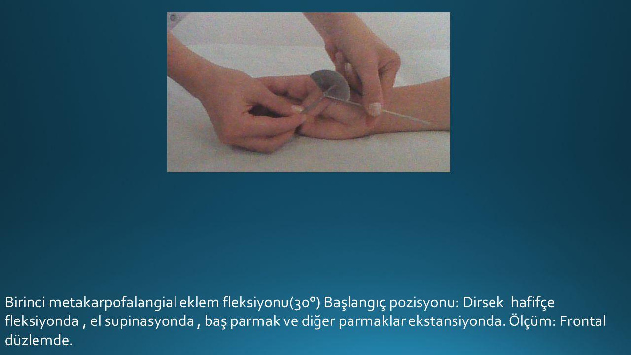 Birinci metakarpofalangial eklem fleksiyonu(30°) Başlangıç pozisyonu: Dirsek hafifçe fleksiyonda, el supinasyonda, baş parmak ve diğer parmaklar ekstansiyonda.