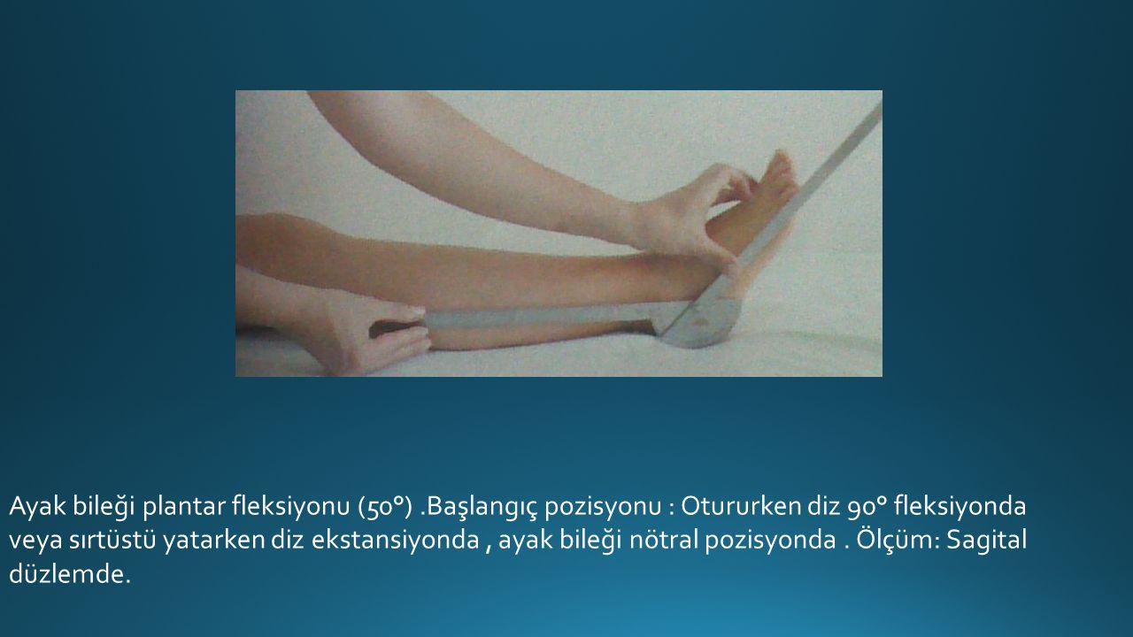 Ayak bileği plantar fleksiyonu (50°).Başlangıç pozisyonu : Otururken diz 90° fleksiyonda veya sırtüstü yatarken diz ekstansiyonda, ayak bileği nötral pozisyonda.