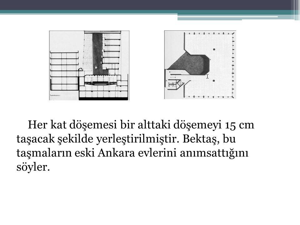 Her kat döşemesi bir alttaki döşemeyi 15 cm taşacak şekilde yerleştirilmiştir. Bektaş, bu taşmaların eski Ankara evlerini anımsattığını söyler.