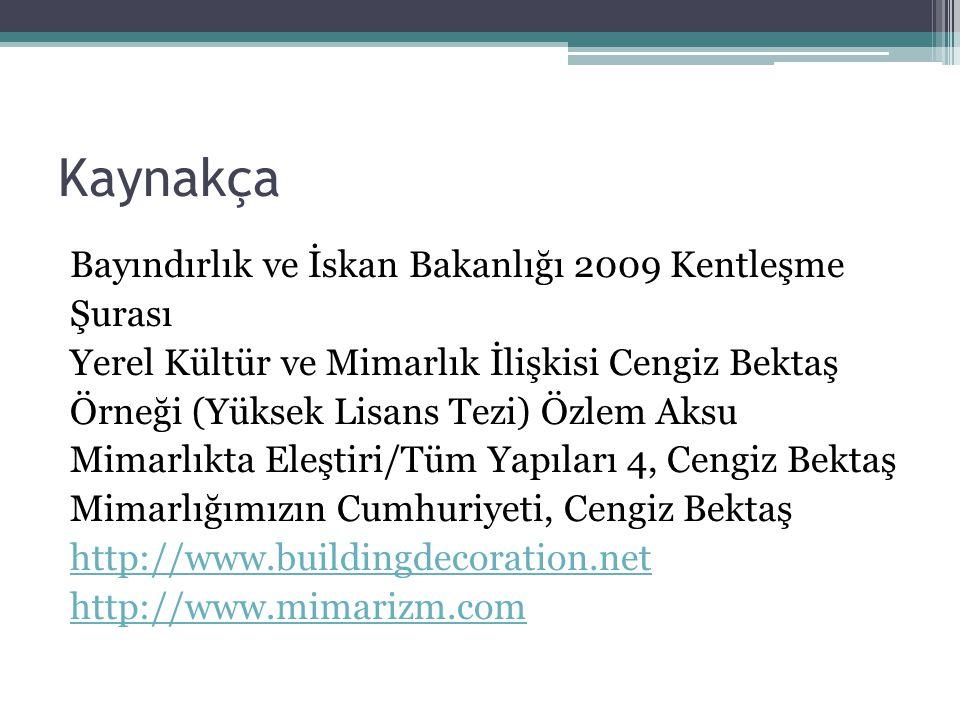 Kaynakça Bayındırlık ve İskan Bakanlığı 2009 Kentleşme Şurası Yerel Kültür ve Mimarlık İlişkisi Cengiz Bektaş Örneği (Yüksek Lisans Tezi) Özlem Aksu M