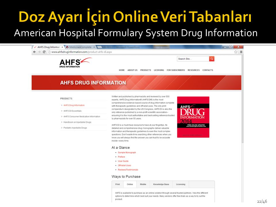 American Hospital Formulary System Drug Information 22/46