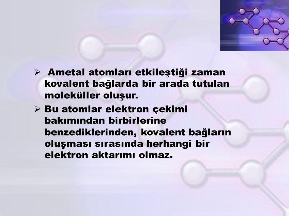  Ametal atomları etkileştiği zaman kovalent bağlarda bir arada tutulan moleküller oluşur.  Bu atomlar elektron çekimi bakımından birbirlerine benzed
