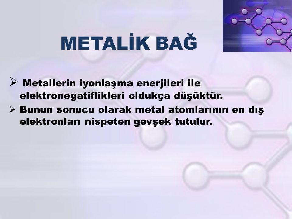 METALİK BAĞ  Metallerin iyonlaşma enerjileri ile elektronegatiflikleri oldukça düşüktür.  Bunun sonucu olarak metal atomlarının en dış elektronları