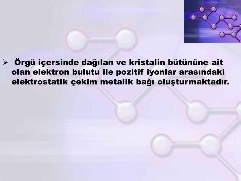  Örgü içersinde dağılan ve kristalin bütününe ait olan elektron bulutu ile pozitif iyonlar arasındaki elektrostatik çekim metalik bağı oluşturmaktadı
