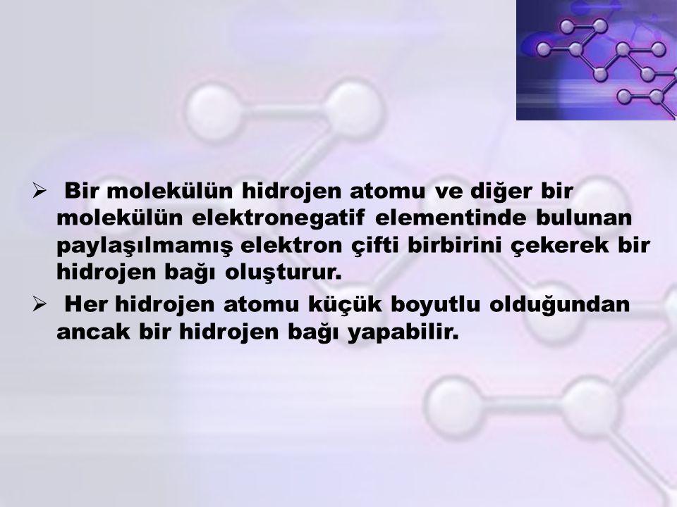  Bir molekülün hidrojen atomu ve diğer bir molekülün elektronegatif elementinde bulunan paylaşılmamış elektron çifti birbirini çekerek bir hidrojen b
