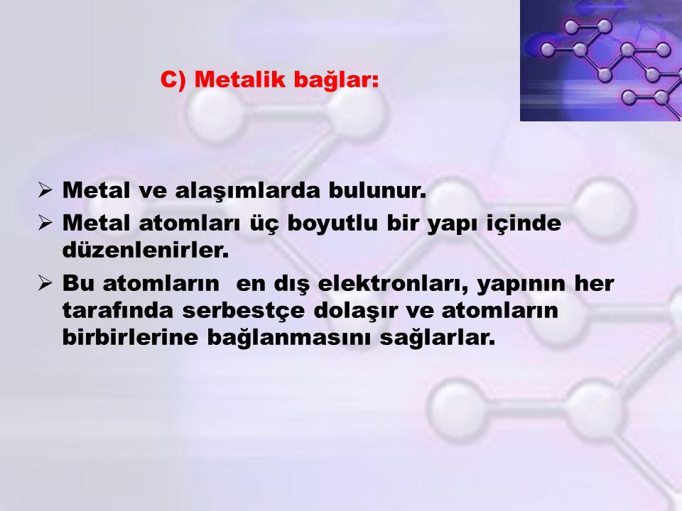  Metal ve alaşımlarda bulunur.  Metal atomları üç boyutlu bir yapı içinde düzenlenirler.  Bu atomların en dış elektronları, yapının her tarafında s