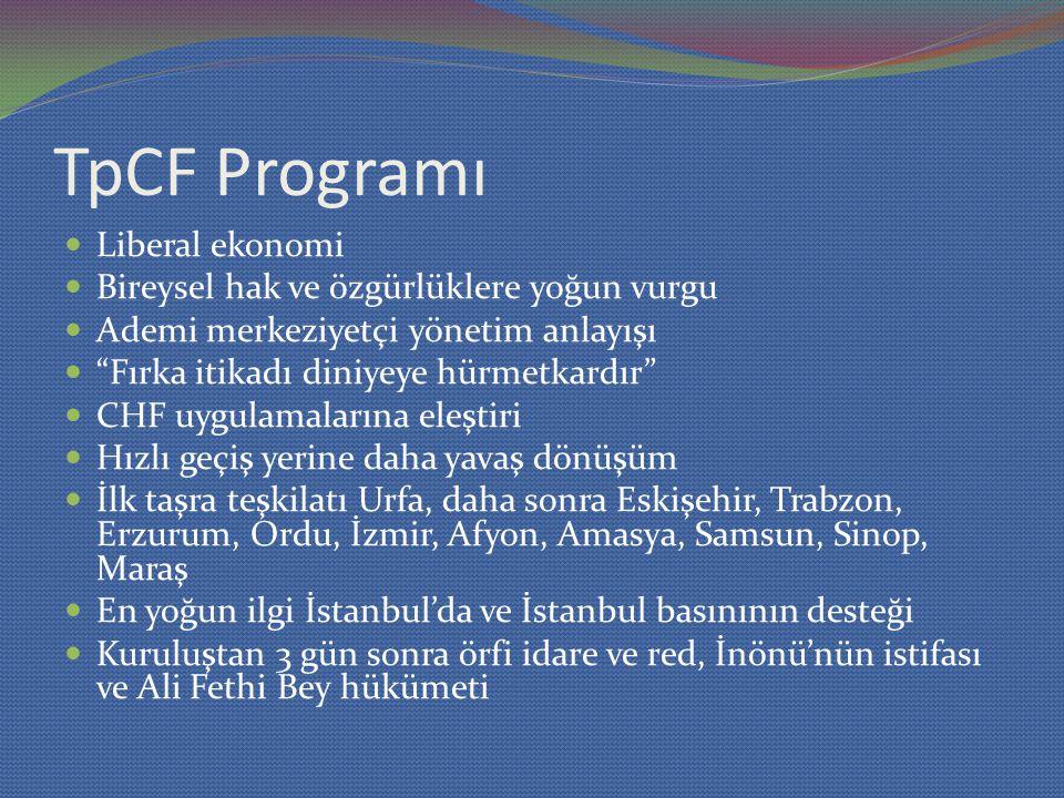 TpCF Programı Liberal ekonomi Bireysel hak ve özgürlüklere yoğun vurgu Ademi merkeziyetçi yönetim anlayışı Fırka itikadı diniyeye hürmetkardır CHF uygulamalarına eleştiri Hızlı geçiş yerine daha yavaş dönüşüm İlk taşra teşkilatı Urfa, daha sonra Eskişehir, Trabzon, Erzurum, Ordu, İzmir, Afyon, Amasya, Samsun, Sinop, Maraş En yoğun ilgi İstanbul'da ve İstanbul basınının desteği Kuruluştan 3 gün sonra örfi idare ve red, İnönü'nün istifası ve Ali Fethi Bey hükümeti