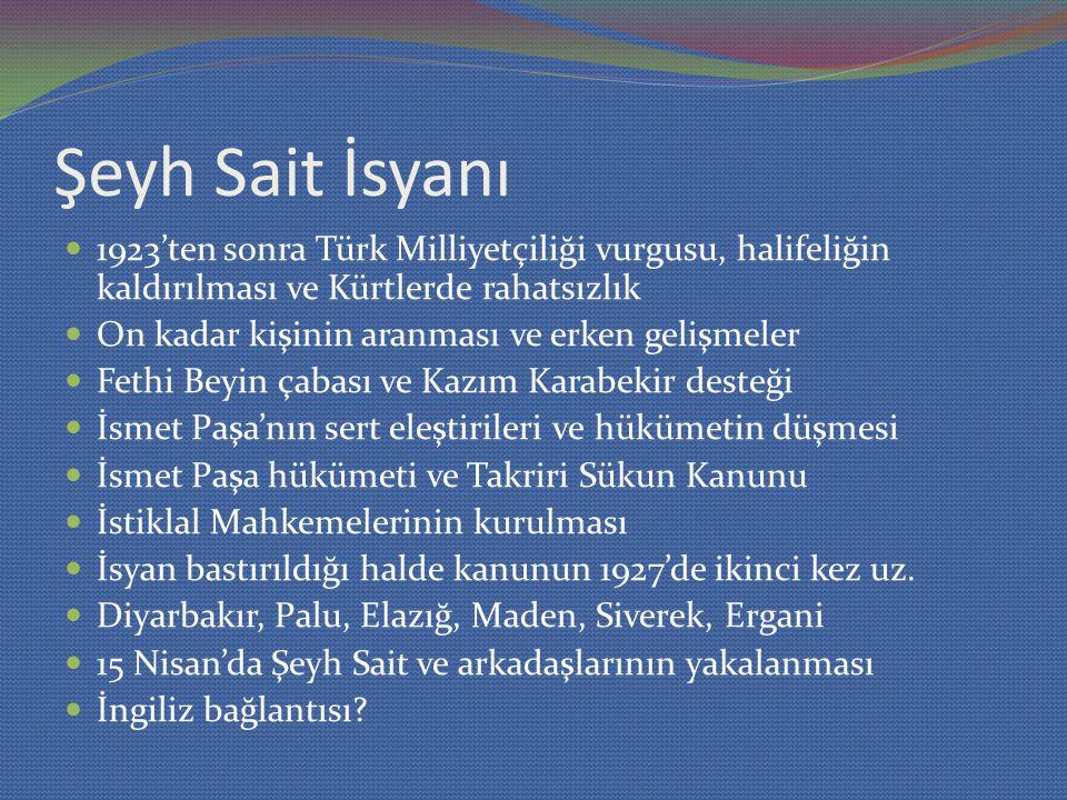 Şeyh Sait İsyanı 1923'ten sonra Türk Milliyetçiliği vurgusu, halifeliğin kaldırılması ve Kürtlerde rahatsızlık On kadar kişinin aranması ve erken gelişmeler Fethi Beyin çabası ve Kazım Karabekir desteği İsmet Paşa'nın sert eleştirileri ve hükümetin düşmesi İsmet Paşa hükümeti ve Takriri Sükun Kanunu İstiklal Mahkemelerinin kurulması İsyan bastırıldığı halde kanunun 1927'de ikinci kez uz.