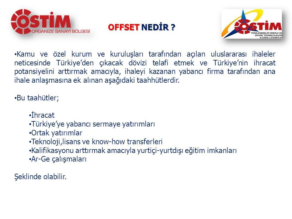 OFFSET NEDİR ? Kamu ve özel kurum ve kuruluşları tarafından açılan uluslararası ihaleler neticesinde Türkiye'den çıkacak dövizi telafi etmek ve Türkiy