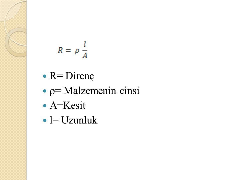 R= Direnç ρ= Malzemenin cinsi A=Kesit l= Uzunluk