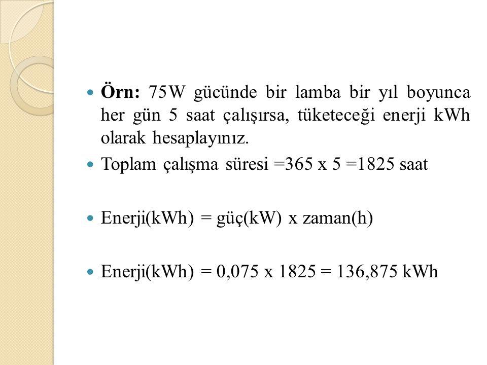 Örn: 1200W gücündeki bir ütünün 10kWh enerji harcaması için ütü kaç saat kullanılmalıdır. W = P t