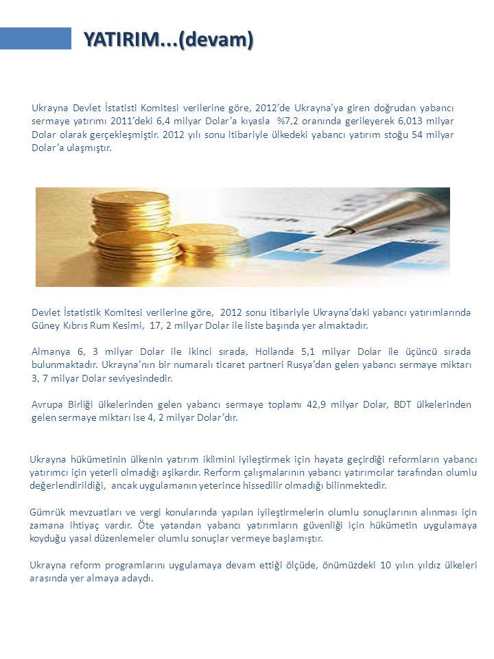 Devlet İstatistik Komitesi verilerine göre, 2012 sonu itibariyle Ukrayna'daki yabancı yatırımlarında Güney Kıbrıs Rum Kesimi, 17, 2 milyar Dolar ile liste başında yer almaktadır.