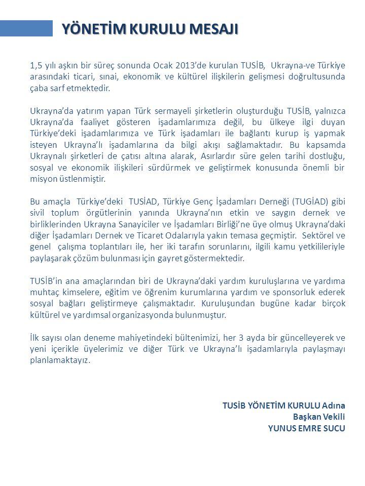 YÖNETİM KURULU MESAJI 1,5 yılı aşkın bir süreç sonunda Ocak 2013'de kurulan TUSİB, Ukrayna-ve Türkiye arasındaki ticari, sınai, ekonomik ve kültürel ilişkilerin gelişmesi doğrultusunda çaba sarf etmektedir.
