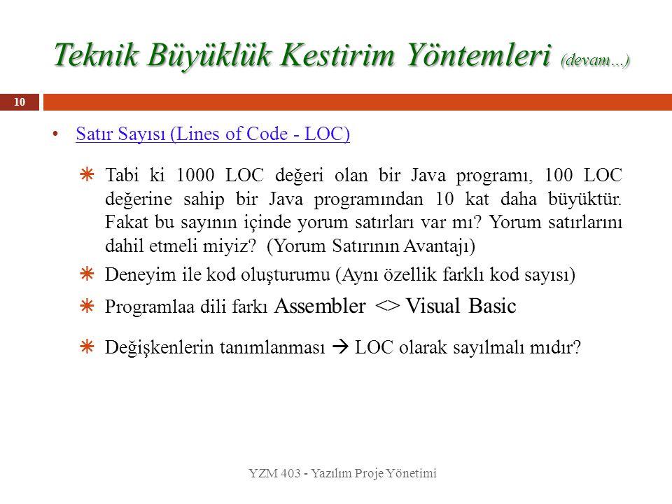 Teknik Büyüklük Kestirim Yöntemleri (devam…) Satır Sayısı (Lines of Code - LOC)  Tabi ki 1000 LOC değeri olan bir Java programı, 100 LOC değerine sah