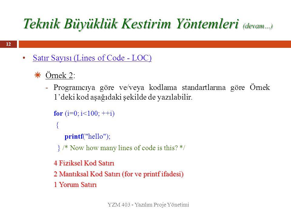 Teknik Büyüklük Kestirim Yöntemleri (devam…) Satır Sayısı (Lines of Code - LOC)  Örnek 2: -Programcıya göre ve/veya kodlama standartlarına göre Örnek