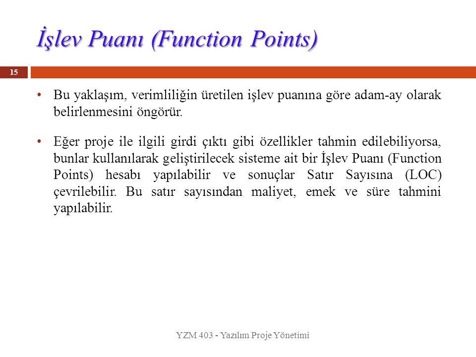 İşlev Puanı (Function Points) Bu yaklaşım, verimliliğin üretilen işlev puanına göre adam-ay olarak belirlenmesini öngörür. Eğer proje ile ilgili girdi