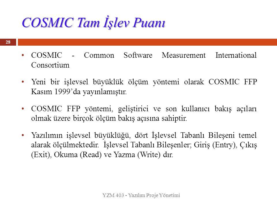 COSMIC Tam İşlev Puanı COSMIC - Common Software Measurement International Consortium Yeni bir işlevsel büyüklük ölçüm yöntemi olarak COSMIC FFP Kasım