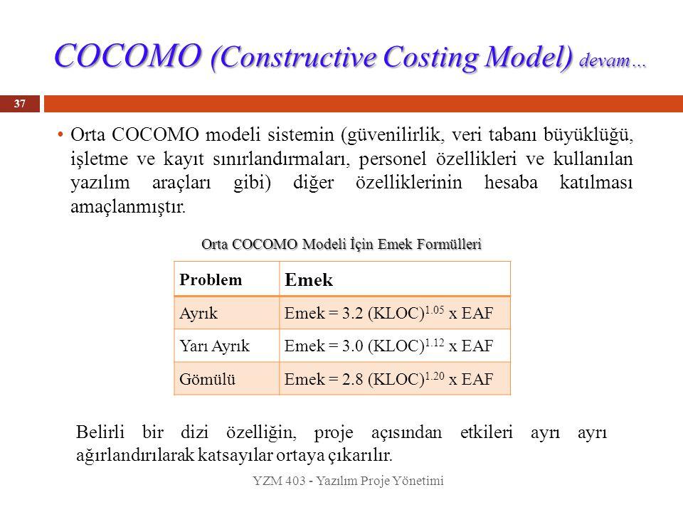 COCOMO (Constructive Costing Model) devam… 37 Orta COCOMO modeli sistemin (güvenilirlik, veri tabanı büyüklüğü, işletme ve kayıt sınırlandırmaları, pe