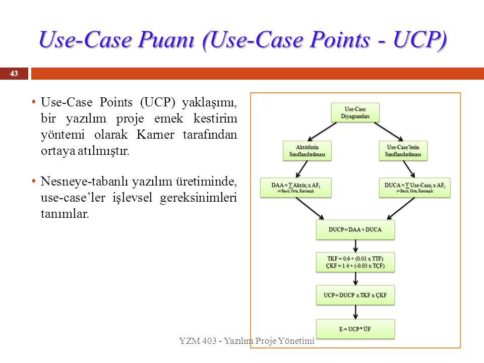 Use-Case Puanı (Use-Case Points - UCP) 43 Use-Case Points (UCP) yaklaşımı, bir yazılım proje emek kestirim yöntemi olarak Karner tarafından ortaya atı