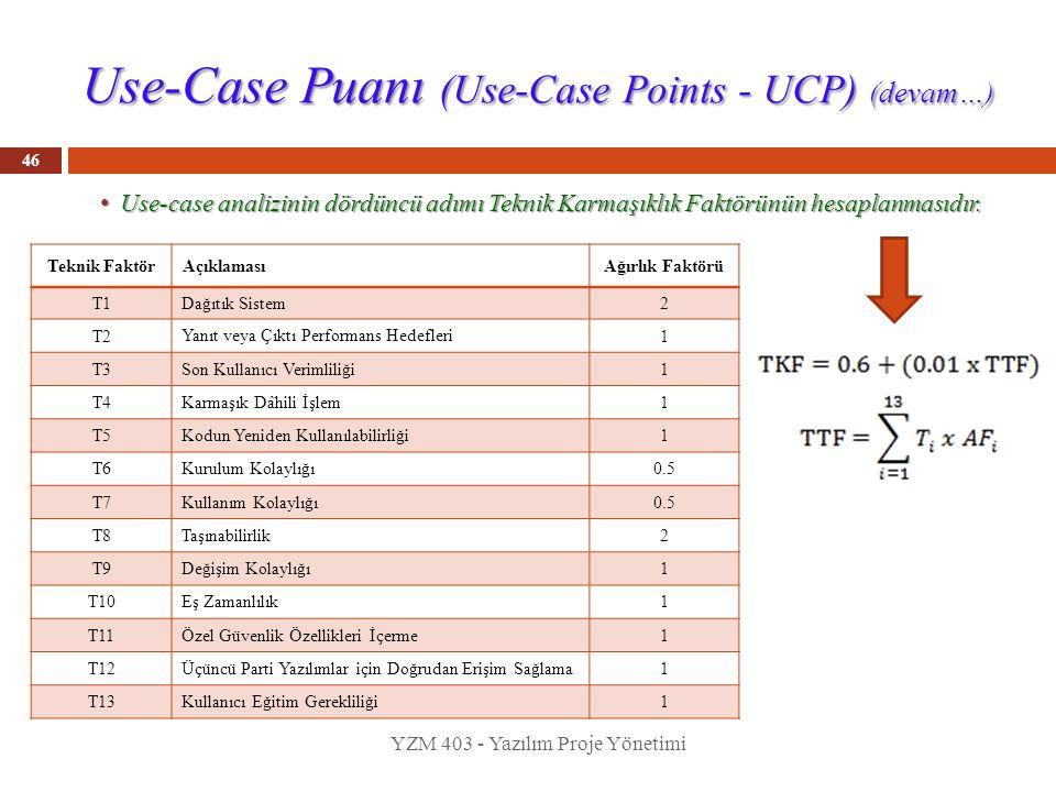 Use-Case Puanı (Use-Case Points - UCP) (devam…) Use-case analizinin dördüncü adımı Teknik Karmaşıklık Faktörünün hesaplanmasıdır. Use-case analizinin