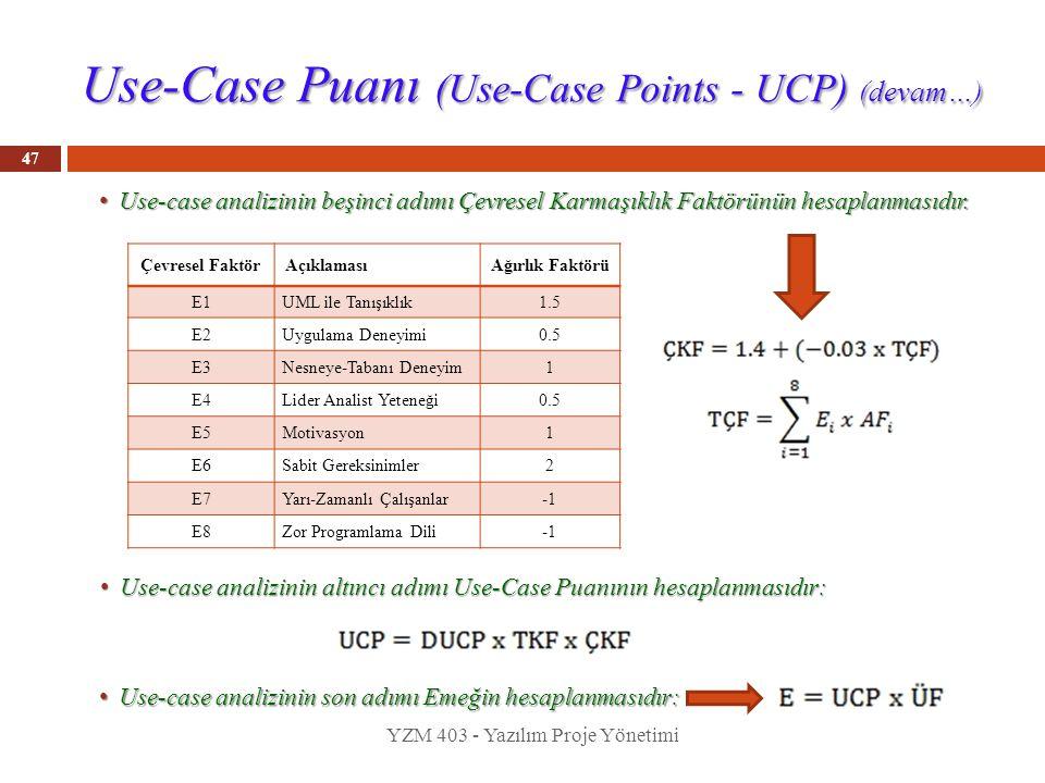 Use-Case Puanı (Use-Case Points - UCP) (devam…) Use-case analizinin beşinci adımı Çevresel Karmaşıklık Faktörünün hesaplanmasıdır. Use-case analizinin