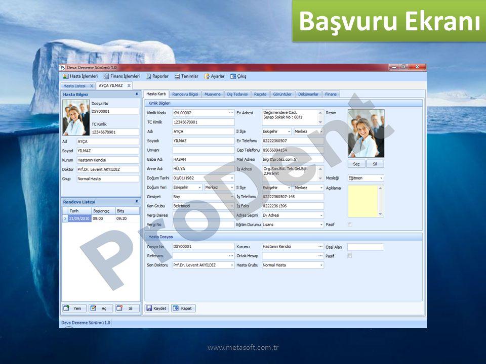 www.metasoft.com.tr Başvuru Ekranı