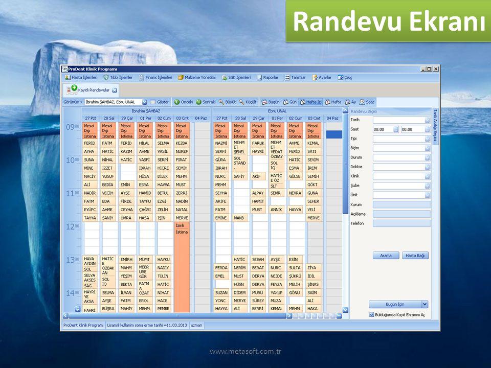 www.metasoft.com.tr Randevu Ekranı