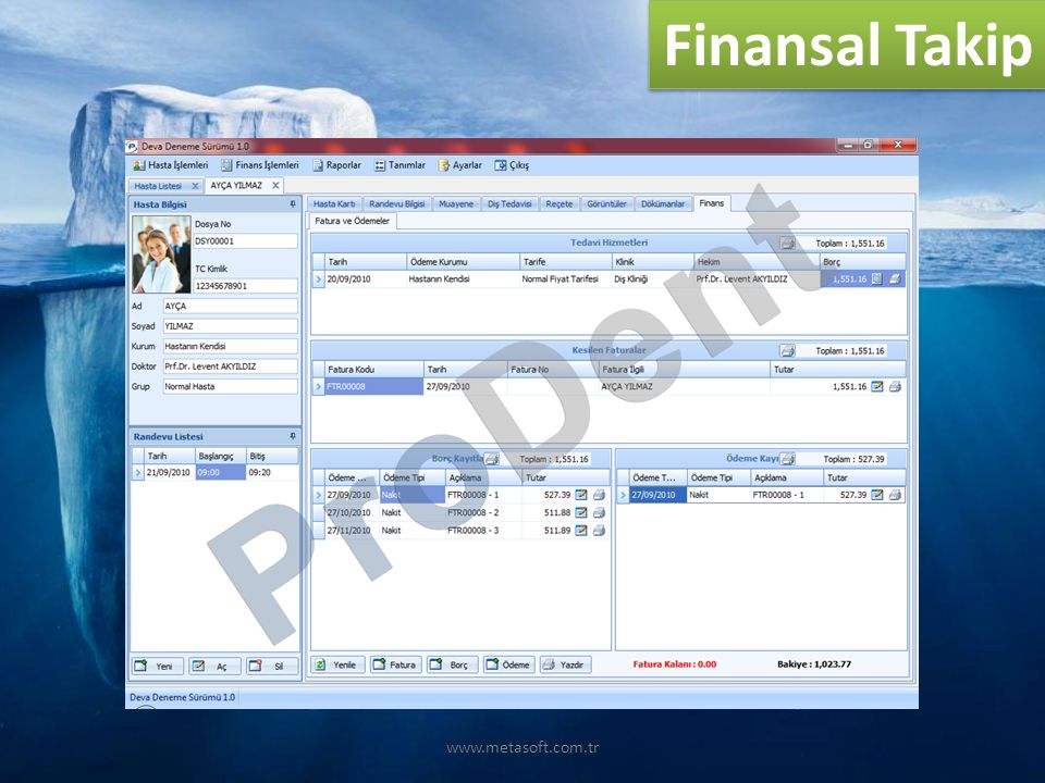 www.metasoft.com.tr Finansal Takip