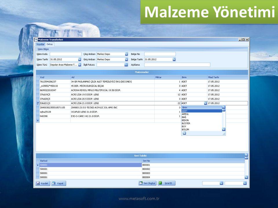 www.metasoft.com.tr Malzeme Yönetimi