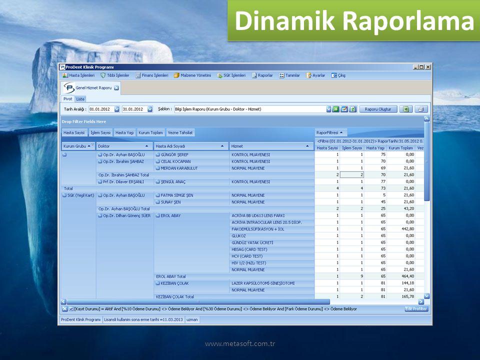 www.metasoft.com.tr Dinamik Raporlama