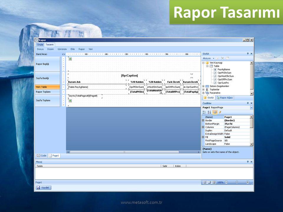 www.metasoft.com.tr Rapor Tasarımı