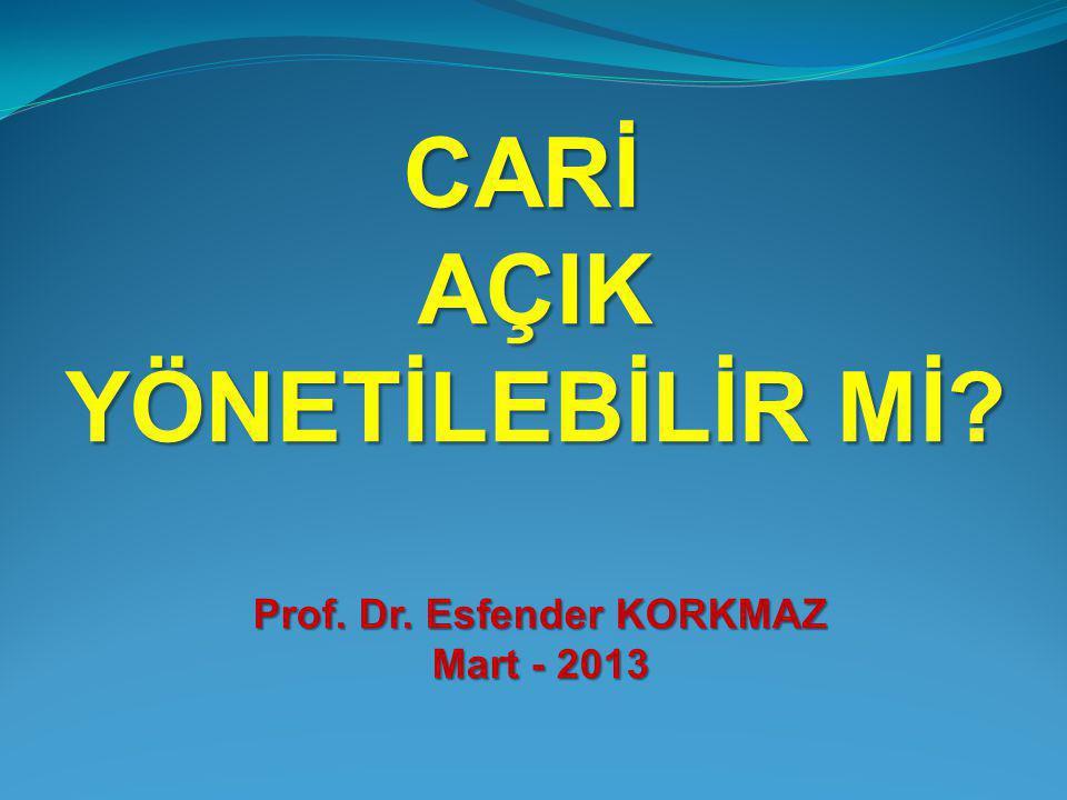CARİAÇIK YÖNETİLEBİLİR Mİ Prof. Dr. Esfender KORKMAZ Mart - 2013