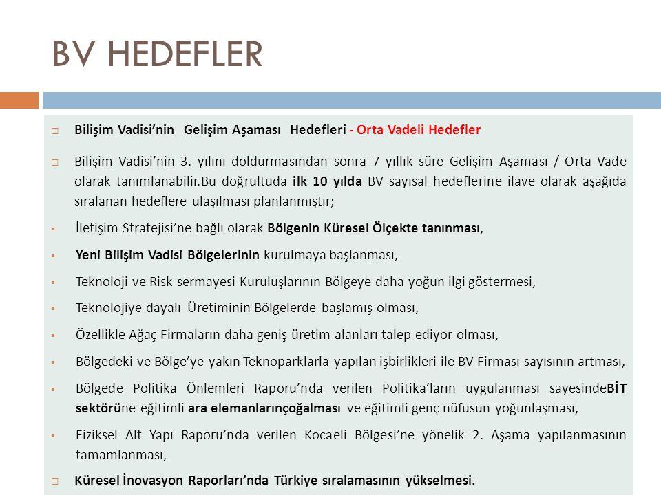 BV HEDEFLER  Bilişim Vadisi'nin Gelişim Aşaması Hedefleri - Orta Vadeli Hedefler  Bilişim Vadisi'nin 3.