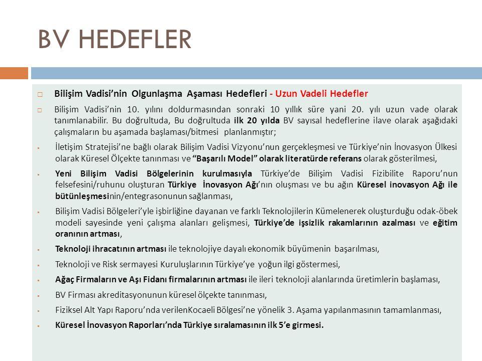 BV HEDEFLER  Bilişim Vadisi'nin Olgunlaşma Aşaması Hedefleri - Uzun Vadeli Hedefler  Bilişim Vadisi'nin 10.