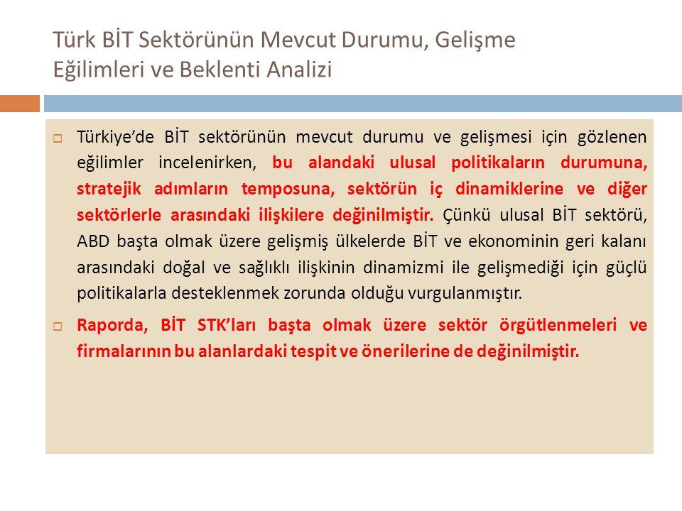 Türk BİT Sektörünün Mevcut Durumu, Gelişme Eğilimleri ve Beklenti Analizi  Türkiye'de BİT sektörünün mevcut durumu ve gelişmesi için gözlenen eğilimler incelenirken, bu alandaki ulusal politikaların durumuna, stratejik adımların temposuna, sektörün iç dinamiklerine ve diğer sektörlerle arasındaki ilişkilere değinilmiştir.