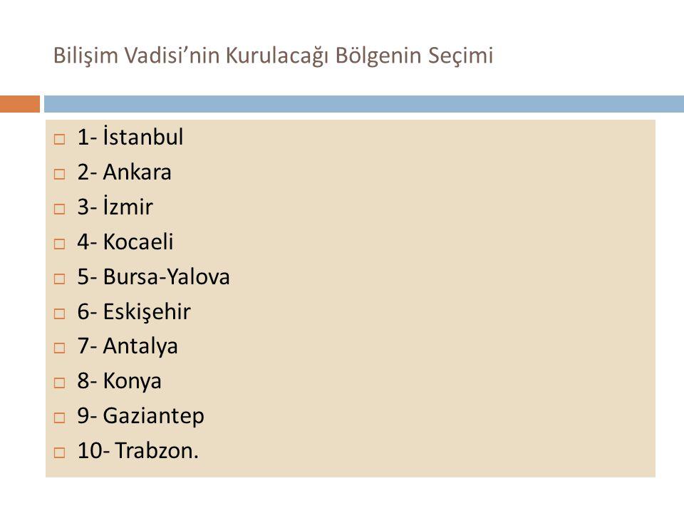 Bilişim Vadisi'nin Kurulacağı Bölgenin Seçimi  1- İstanbul  2- Ankara  3- İzmir  4- Kocaeli  5- Bursa-Yalova  6- Eskişehir  7- Antalya  8- Konya  9- Gaziantep  10- Trabzon.