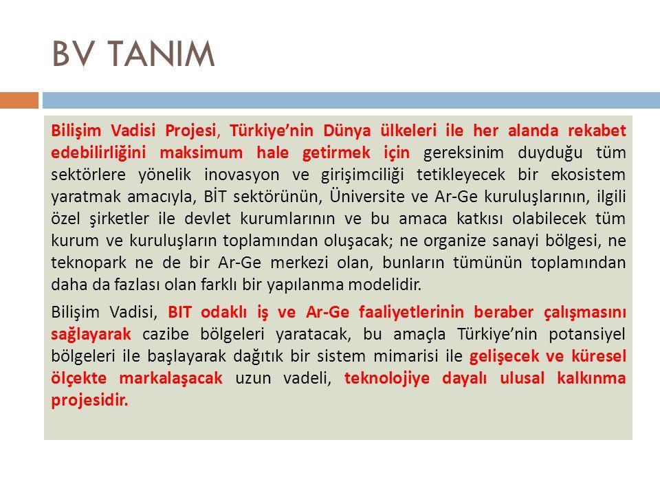 BV TANIM Bilişim Vadisi Projesi, Türkiye'nin Dünya ülkeleri ile her alanda rekabet edebilirliğini maksimum hale getirmek için gereksinim duyduğu tüm sektörlere yönelik inovasyon ve girişimciliği tetikleyecek bir ekosistem yaratmak amacıyla, BİT sektörünün, Üniversite ve Ar-Ge kuruluşlarının, ilgili özel şirketler ile devlet kurumlarının ve bu amaca katkısı olabilecek tüm kurum ve kuruluşların toplamından oluşacak; ne organize sanayi bölgesi, ne teknopark ne de bir Ar-Ge merkezi olan, bunların tümünün toplamından daha da fazlası olan farklı bir yapılanma modelidir.