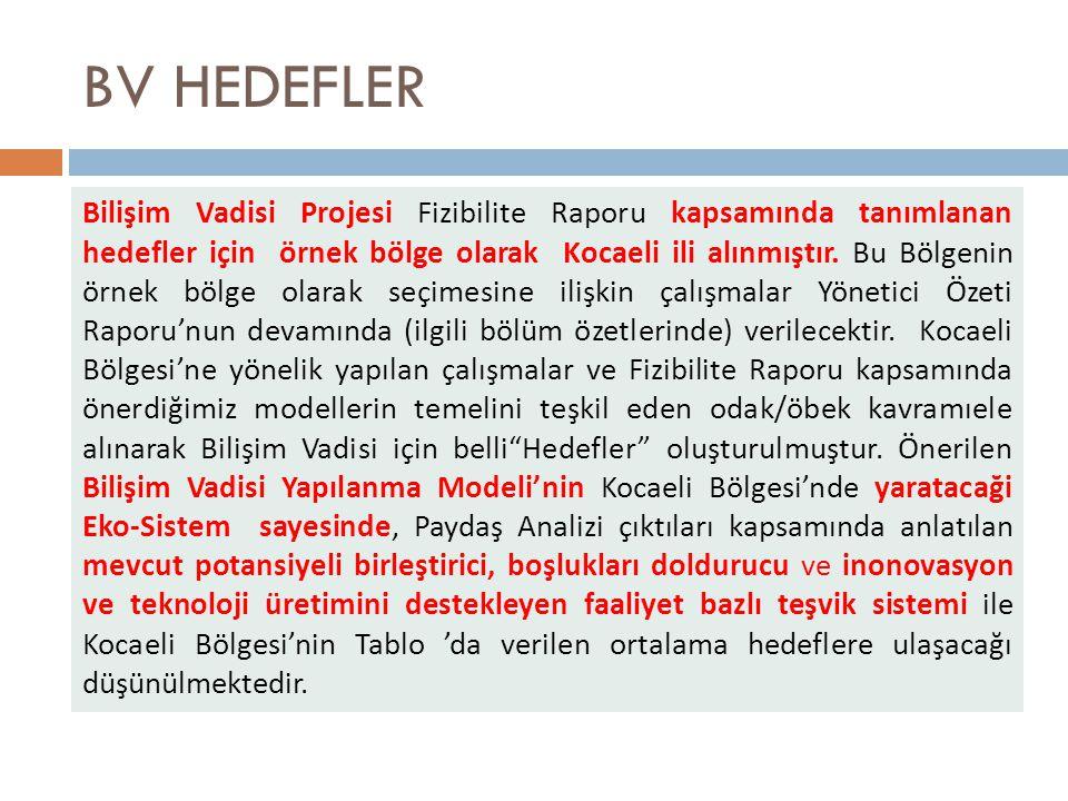 BV HEDEFLER Bilişim Vadisi Projesi Fizibilite Raporu kapsamında tanımlanan hedefler için örnek bölge olarak Kocaeli ili alınmıştır.