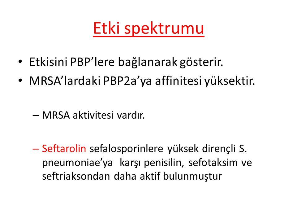Etki spektrumu Etkisini PBP'lere bağlanarak gösterir. MRSA'lardaki PBP2a'ya affinitesi yüksektir. – MRSA aktivitesi vardır. – Seftarolin sefalosporinl