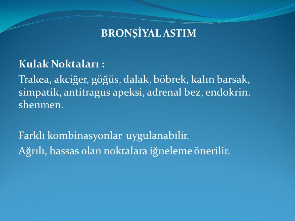 BRONŞİYAL ASTIM Kulak Noktaları : Trakea, akciğer, göğüs, dalak, böbrek, kalın barsak, simpatik, antitragus apeksi, adrenal bez, endokrin, shenmen. Fa