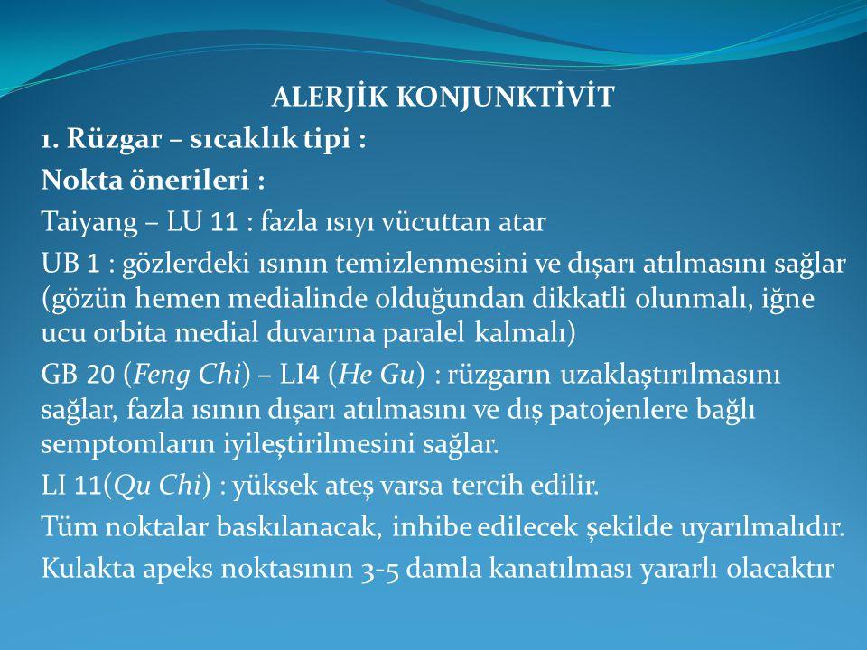 ALERJİK KONJUNKTİVİT 1. Rüzgar – sıcaklık tipi : Nokta önerileri : Taiyang – LU 11 : fazla ısıyı vücuttan atar UB 1 : gözlerdeki ısının temizlenmesini