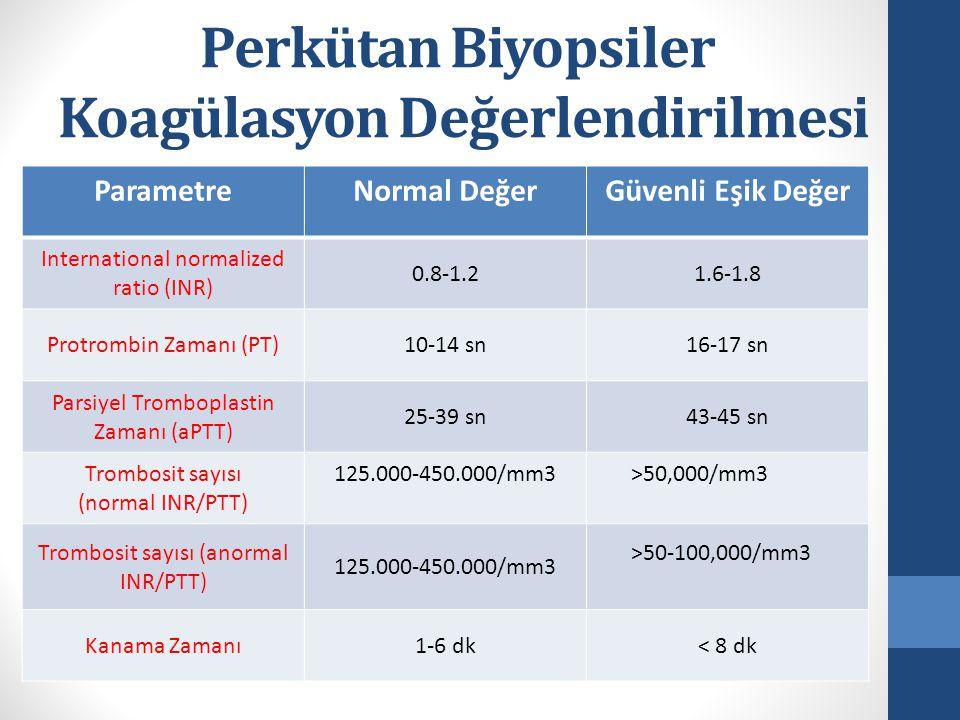 Perkütan Biyopsiler Koagülasyon Değerlendirilmesi ParametreNormal DeğerGüvenli Eşik Değer International normalized ratio (INR) 0.8-1.21.6-1.8 Protrombin Zamanı (PT)10-14 sn16-17 sn Parsiyel Tromboplastin Zamanı (aPTT) 25-39 sn43-45 sn Trombosit sayısı (normal INR/PTT) 125.000-450.000/mm3>50,000/mm3 Trombosit sayısı (anormal INR/PTT) 125.000-450.000/mm3 >50-100,000/mm3 Kanama Zamanı1-6 dk< 8 dk
