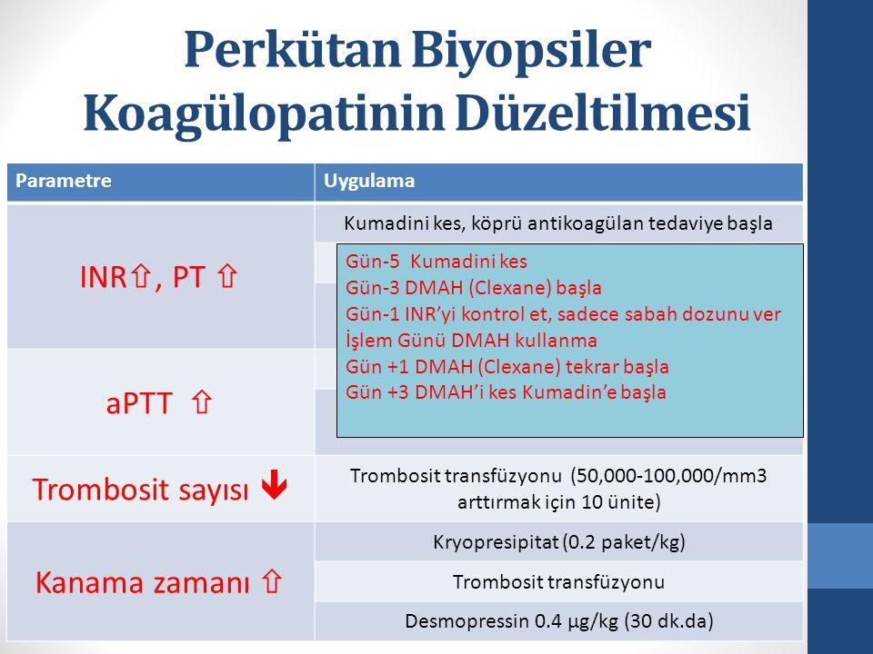 Perkütan Biyopsiler Koagülopatinin Düzeltilmesi ParametreUygulama INR , PT  Kumadini kes, köprü antikoagülan tedaviye başla Taze donmuş plazma (10-15 ml/kg) Vitamin K (1-3 mg IV) 6-8 sonra tekrarlanabilir aPTT  Heparini 6-12 saat önceden kes Taze donmuş plazma (10-15 ml/kg) Trombosit sayısı  Trombosit transfüzyonu (50,000-100,000/mm3 arttırmak için 10 ünite) Kanama zamanı  Kryopresipitat (0.2 paket/kg) Trombosit transfüzyonu Desmopressin 0.4 μg/kg (30 dk.da) Gün-5 Kumadini kes Gün-3 DMAH (Clexane) başla Gün-1 INR'yi kontrol et, sadece sabah dozunu ver İşlem Günü DMAH kullanma Gün +1 DMAH (Clexane) tekrar başla Gün +3 DMAH'i kes Kumadin'e başla