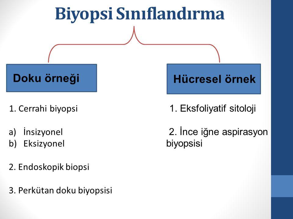 Doku örneği Hücresel örnek 1. Cerrahi biyopsi a)İnsizyonel b)Eksizyonel 2. Endoskopik biopsi 3. Perkütan doku biyopsisi 1. Eksfoliyatif sitoloji 2. İn