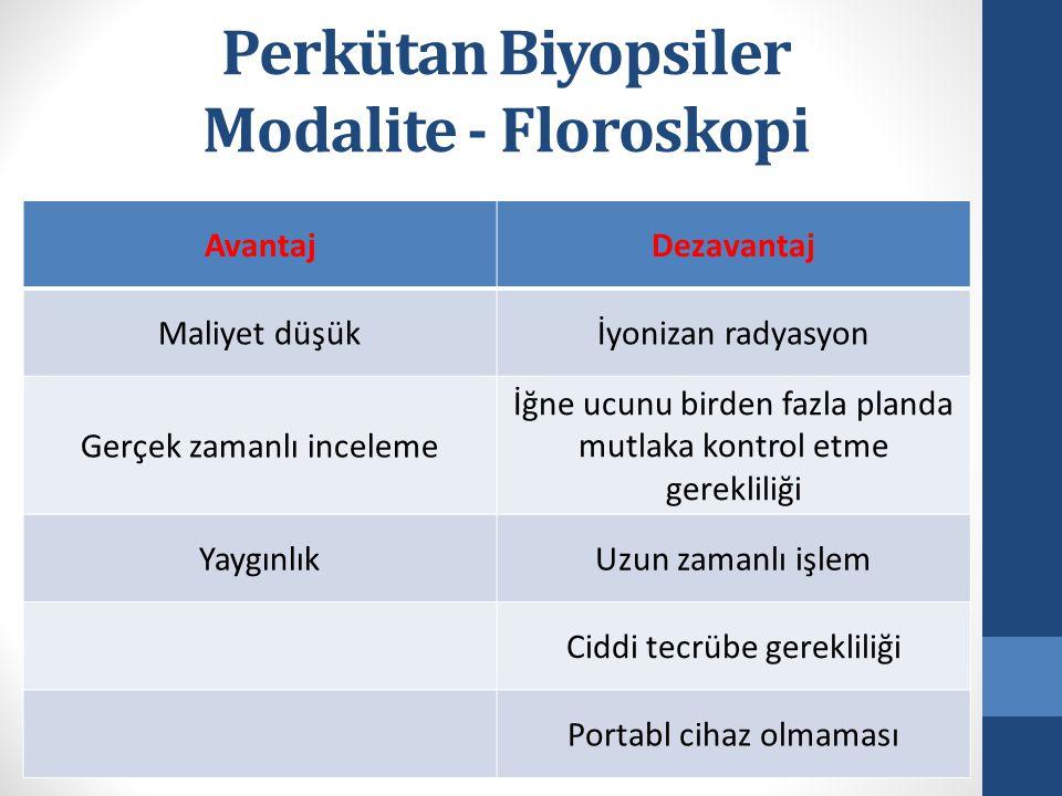 Perkütan Biyopsiler Modalite - Floroskopi AvantajDezavantaj Maliyet düşükİyonizan radyasyon Gerçek zamanlı inceleme İğne ucunu birden fazla planda mutlaka kontrol etme gerekliliği YaygınlıkUzun zamanlı işlem Ciddi tecrübe gerekliliği Portabl cihaz olmaması